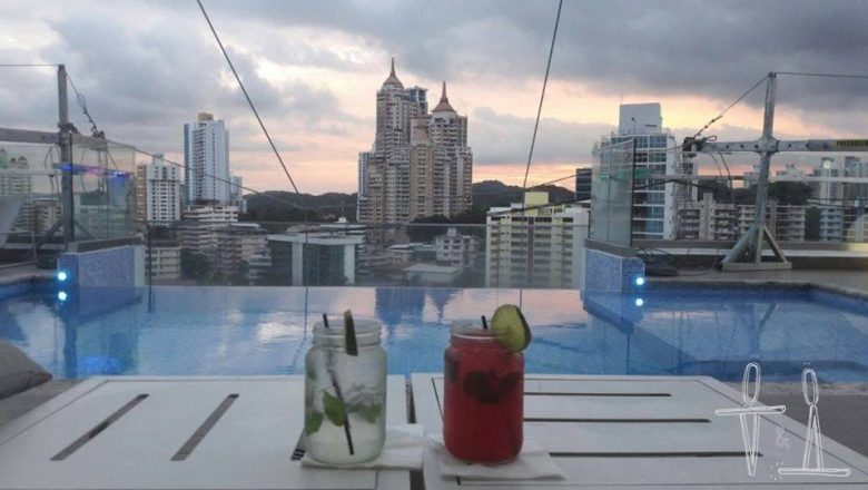 Mojitos by the pool in a hotel rooftop in Panama City at sunset