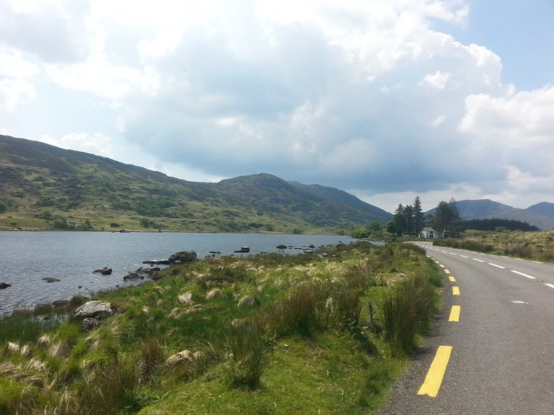 lakeside road with vegetation and mountains at the back