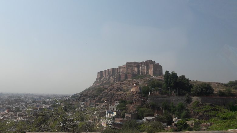 mehrangarh fort towering over the city of jodhpur, rajasthan, india