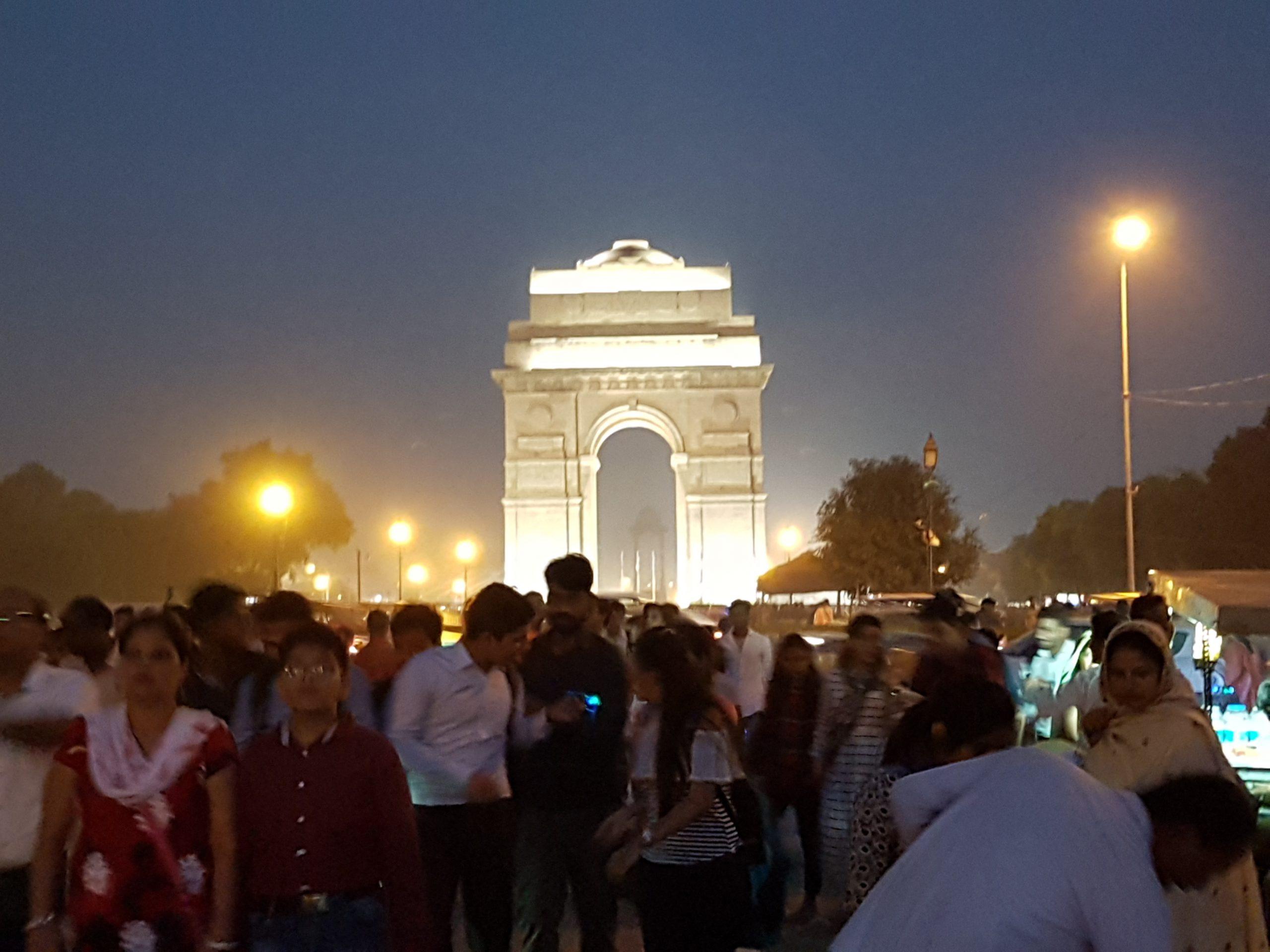 people circling around Delhi's India Gate